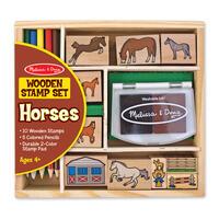 Dřevěná razítka v krabičce - Koně