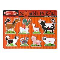 Dřevěné puzzle se zvuky - zvířata na farmě