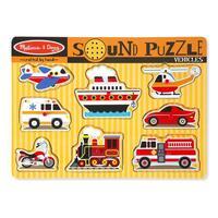 Dřevěné puzzle se zvuky - dopravní prostředky