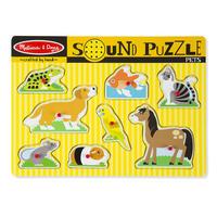 Dřevěné puzzle se zvuky - domácí zvířata