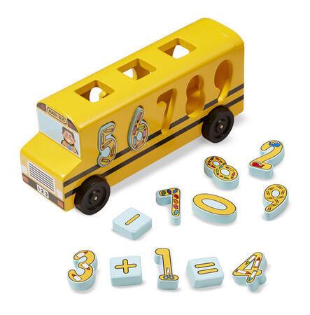 Dřevěný autobus s vkládacími čísly - 1