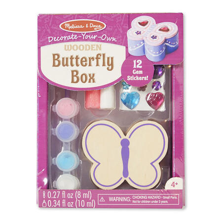 Dřevěná krabička k vymalování /Motýl/ - 1