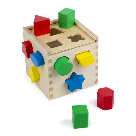 Dřevěná kostka na vkládání tvarů - 1