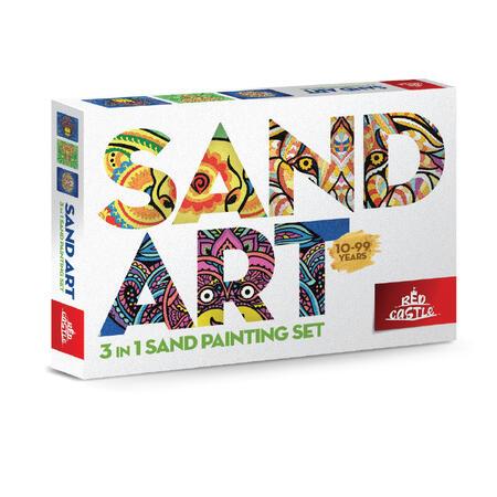 SAND ART - LEV, SLON, OPICE - 3x A4 obrázky - 1