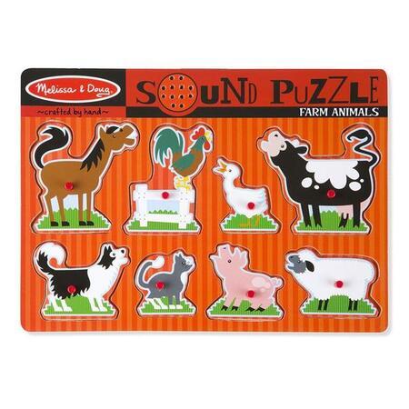 Dřevěné puzzle se zvuky Zvířata na farmě - 1