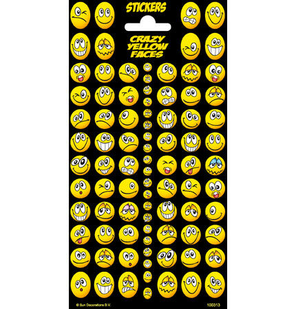 Samolepky-typ C - Crazy Yellow Faces