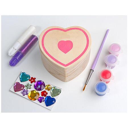 Dřevěná krabička k vymalování /Srdce/ - 2
