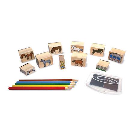 Dřevěná razítka v krabičce - Koně - 2