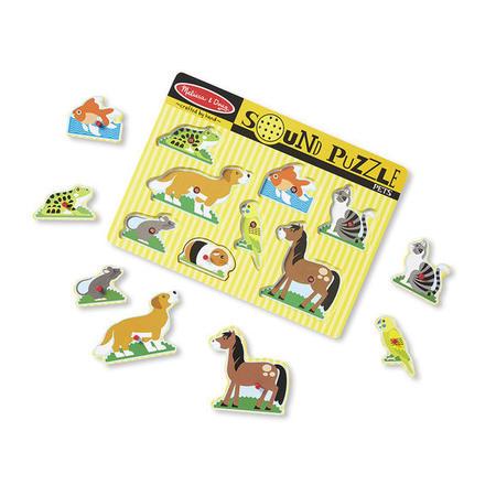 Dřevěné puzzle se zvuky - domácí zvířata - 3