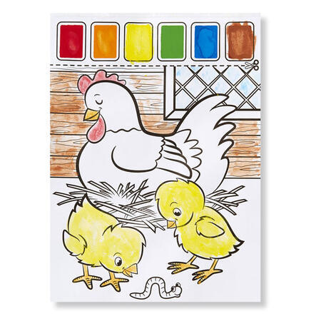 Omalovánky s barvami - zvířata na farmě - 4