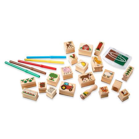 Dřevěná razítka v krabičce - Farma - 5