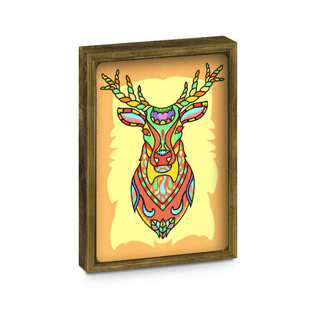 SAND ART - Sova a Jelen - 2x A4 obrázky + rámečky - 7